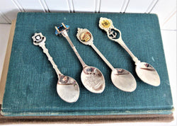 Set 4 English Souvenir Spoons London Cornwall Brighton Stratford 1960s Silver Plate