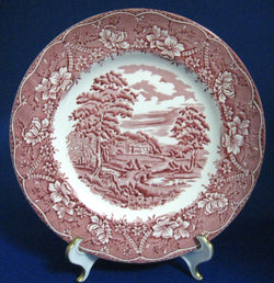 25% OFF Today! Red Transferware Salad Plate Barratts England Old Castle 1950s Ironstone 8 Inch