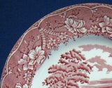 Red Transferware Salad Plate Barratts England Old Castle 1950s Ironstone 8 Inch