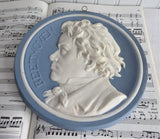Composer Beethoven Jasperware Plaque Blue And White 7.5 Inches Musician