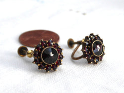 Bohemian Garnet Cluster Earrings Sterling Silver Gold Vermeil Vintage 1950s January Birthstone