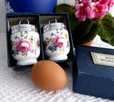 Boxed Egg Coddler Pair Royal Worcester Bournemouth Single 1950 Floral