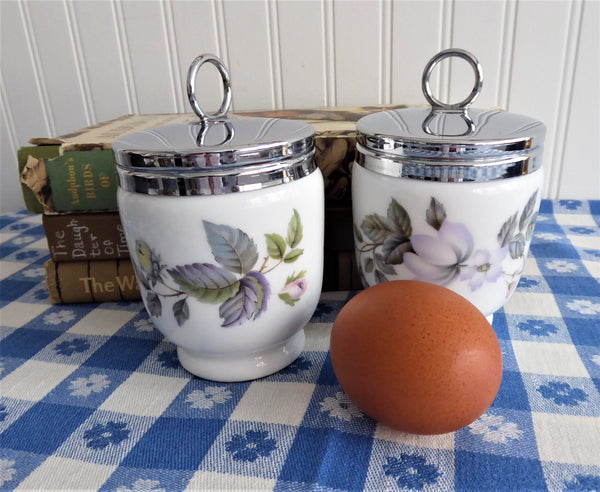 June Garland Egg Coddler Royal Worcester King Double 2 Egg Size Floral 1950s
