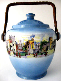 Blue Biscuit Jar New Hall London Tower Barrel England 1910s Kitsch