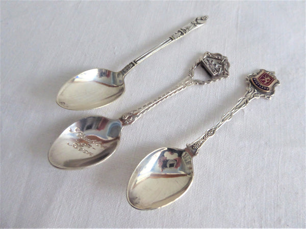 English Souvenir Spoons Set of 3 Scotland Stratford Apostle Silver Plate Dangle Enamel