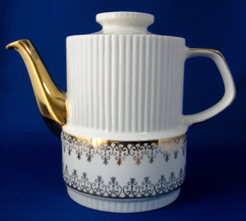 Coffee Pot Gibson Retro White Gold England 1950s Tall Teapot Reeded