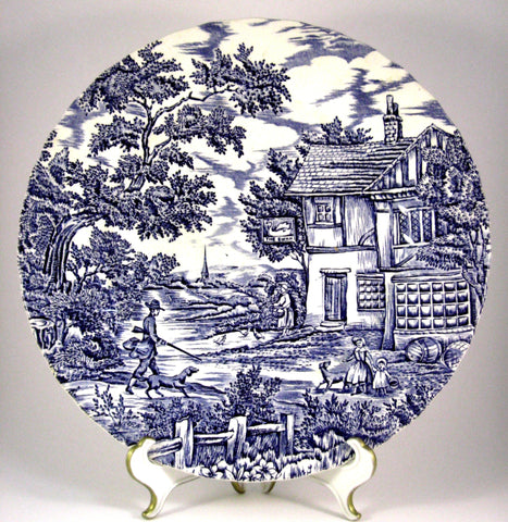 Myott The Hunter Blue Transfer Dinner Plate Ironstone Blue Transferware 1950s