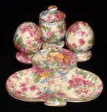 Royal Winton Grimwades Chintz Salt Pepper Mustard Tray Cheadle 1950s 5 Pieces