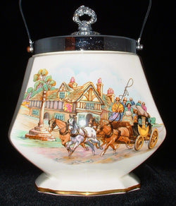Biscuit Jar Royal Winton Grimwades Coaching Scene 1950s Biscuit Barrel