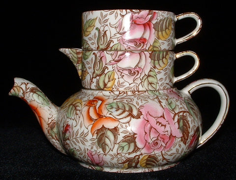 Royal Winton Grimwades Winifred Chintz Stacking Teapot Cream Sugar 1950s