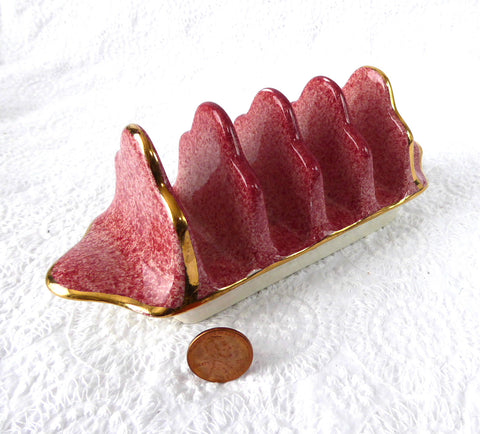Toast Rack Royal Winton Grimwades Pink Mottled Marble 4 Slice 1950s