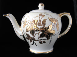 Teapot Large Vintage Sadler Gold Flowers Tea Pot 1950s White And Gold