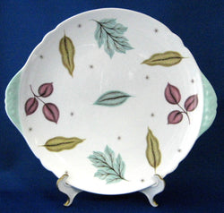 Shelley England Sandwich Plate Autumn Leaves Retro Aqua 1950s
