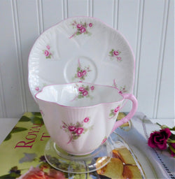 Cup and Saucer Shelley Dainty Bridal Rose 1950s Teacup Rose Spray