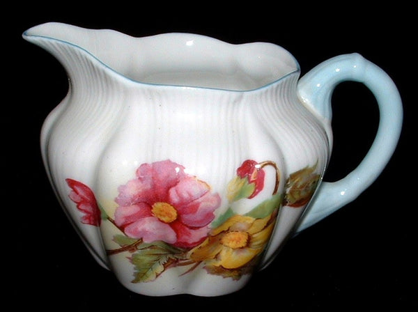 Shelley Begonia Creamer Dainty Shape Blue Trim 1950s Cream Pitcher