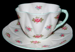 Shelley China Dainty Rosebud Cup and Saucer England Aqua Trim 1950s
