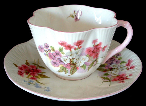 Shelley Stocks Cup and Saucer Dainty Shape 1950s Pink And White