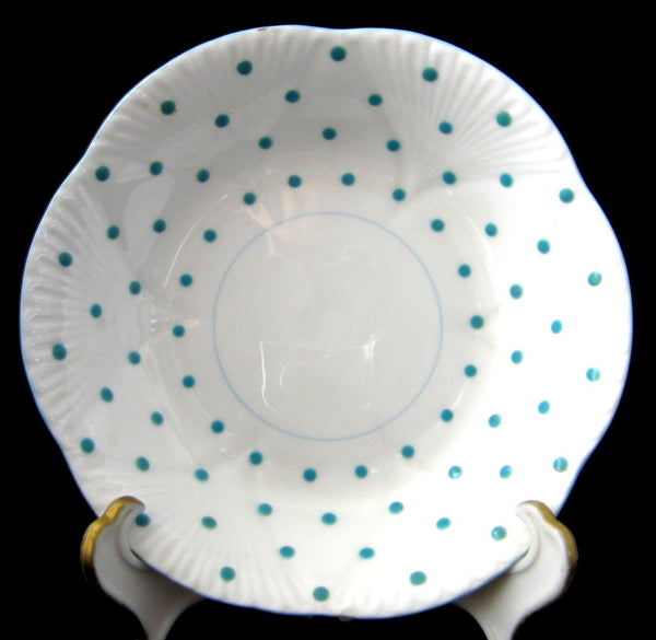 Shelley Dainty Polka Dot Fruit Bowl Sauce Turquoise 1950s Side Bowl