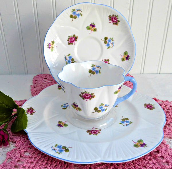 Cup and Saucer With Plate Shelley Dainty Rose Pansy Forget Me Nots 1950s Teacup Trio