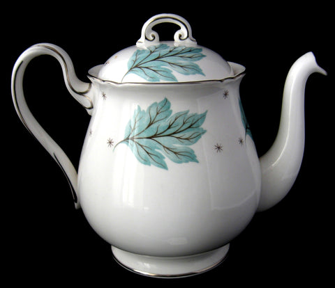 Shelley Tea Pot Drifting Aqua Silver Leaves Gainsborough Teapot 1960s