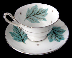 Shelley England Drifting Leaves Gainsborough Cup And Saucer Demitasse 1950s