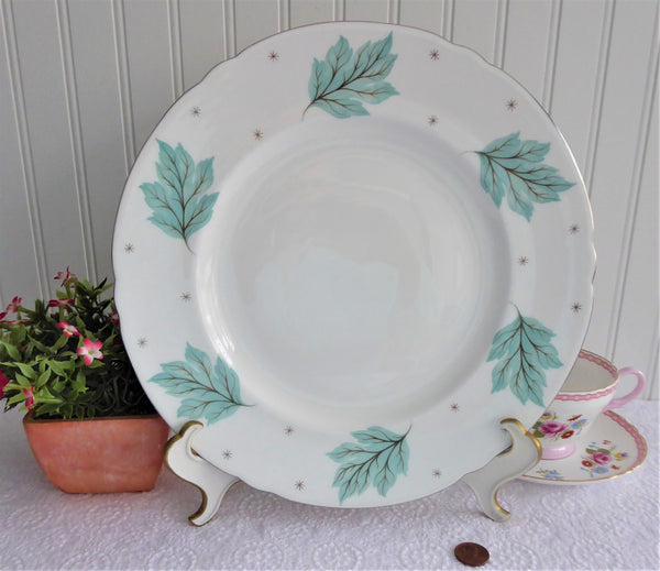 Shelley Drifting Leaves Dinner Plate Charger 1950s Aqua Platinum 10.25 Inch