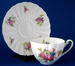 Shelley Cup And Saucer Hulmes Rose Ludlow Green Trim 1940-1966