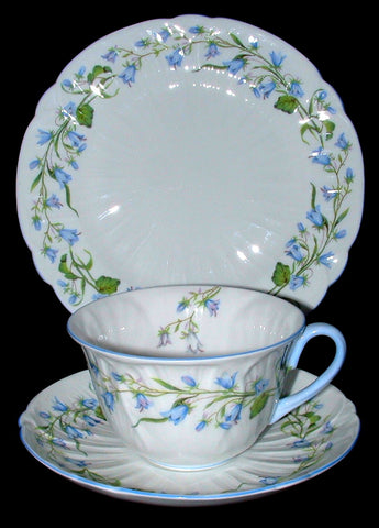 Shelley Large Breakfast Teacup Trio Harebell Oleander Shape Blue And White