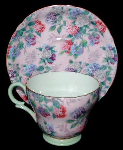 Shelley Summer Glory Chintz Demitasse Cup And Saucer 1950s Henley Shape Pink