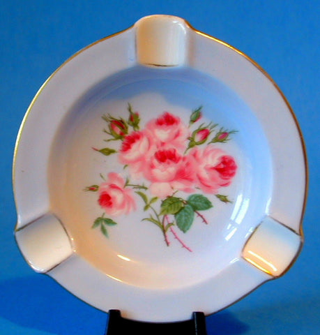 Shelley China England Blue Ashtray Rose Bouquet Bone China 1950-1960s