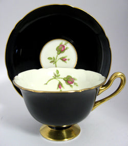 Shelley English Rose Cup And Saucer Gainsborough Black Exterior