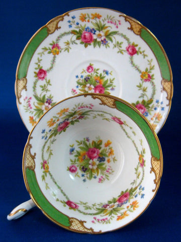 Shelley China Cup And Saucer Gainsborough Green Dubarry Floral Bouquets