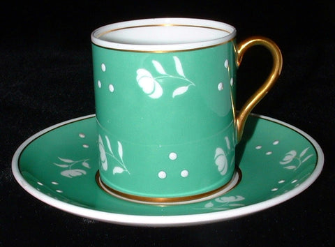 Shelley England Green Mocha Cup And Saucer Stencil 1950s Demitasse