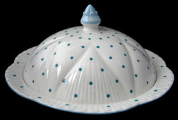 Shelley Dainty Polka Dot Covered Muffin Dish Turquoise 1950s Covered Dish