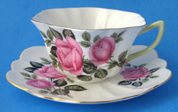 Shelley England Cappers Rose Cup And Saucer Stratford Shape 1959-1966