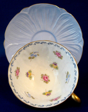Shelley Oleander Blue Rose Pansy FMNot Cup And Saucer