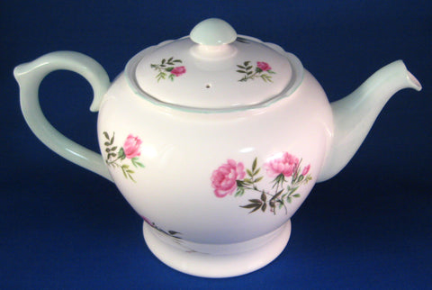 Shelley Tea Pot Eglantine Pink Blossoms Teapot 1950s Blue Trim Henley Perth Shape