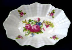 Shelley Hulme's Rose Pin Dish Bon Bon Webbed Oval 1950s Vanity Trinket Dish