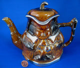 Teapot Toby Jug England Brown Gold Luster Vintage 1940s Tea Pot Price Kensington