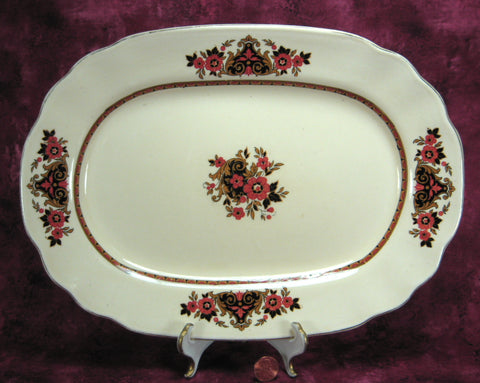 Wedgwood Platter Frontenac Art Deco 12 inches Stylized Floral Black Rust 1950s