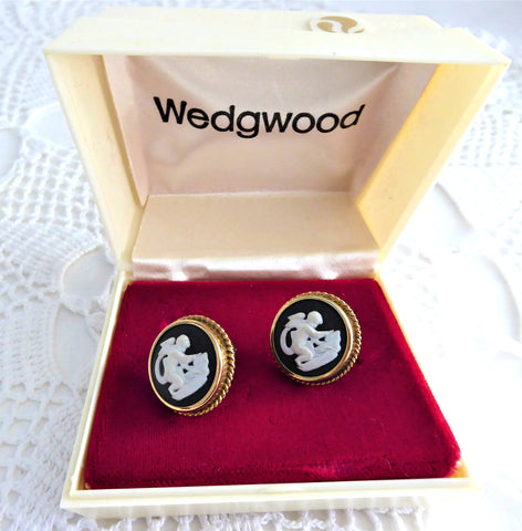 Cupid Earrings Wedgwood Black Jasper 1950s Earrings GF Screwbacks In Box