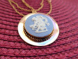 Cupid Wedgwood Necklace Pin Convertible Blue And White Jasper Cupid 1950s GF