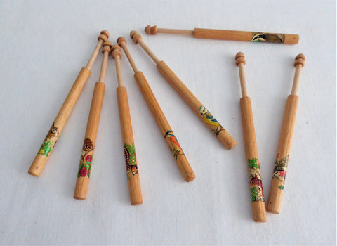 Lacemaking Bobbins Turned 8 Wood 1950s Bobbins UK Animal Decals Pillow Lace Treen