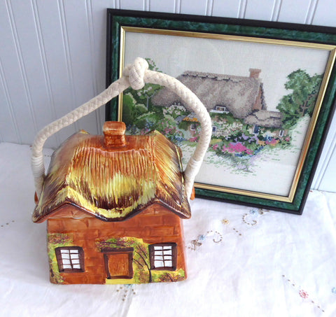 Biscuit Jar Cottageware English Thatched Vintage Price Kensington 1950s Kitsch