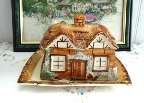 Cottageware Cheese Dish English Thatched Vintage Butter 1950s Kitsch