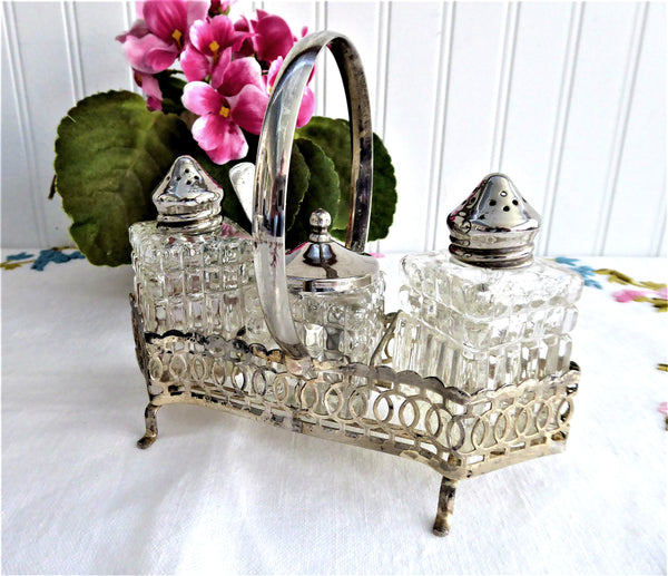 Faceted Glass Silverplate Condiment Cruet Set 1940s Salt Pepper Mustard Spoon Caddy