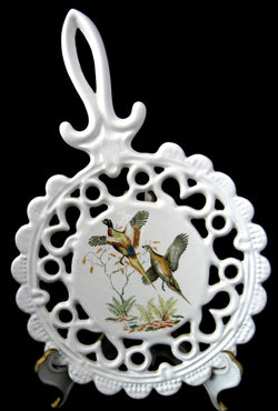 English Enamel Over Cast Iron Trivet Fancy Pheasants 1950s Wall Decor