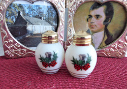 Scottish Thistle and Tartan Salt And Pepper Shakers Milk Glass 1950s Cruets Gold Lids