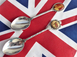 1950s English Souvenir Spoons Queen Mother Union Jack Celluloid Bubbles Silver Plate
