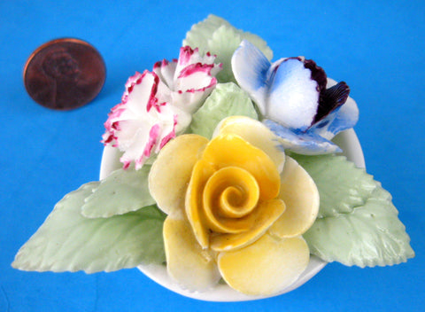 Vintage 1950s Staffordshire Flower Posy Bone China Bowl Hand Made Paperweight